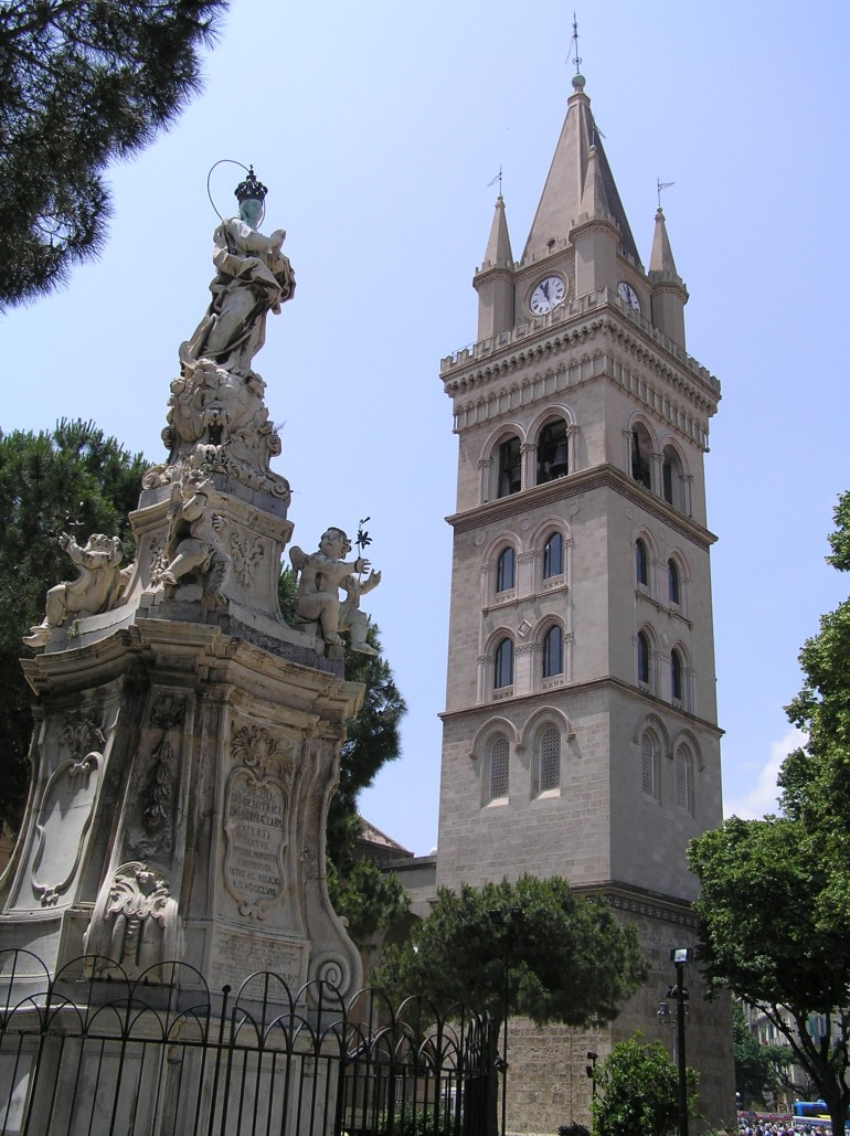 Madonna statue and clock tower duomo Messina