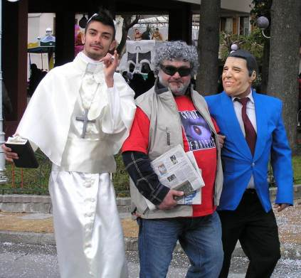 The big three at this years Carnevale The Pope, Grillo and Renzi.