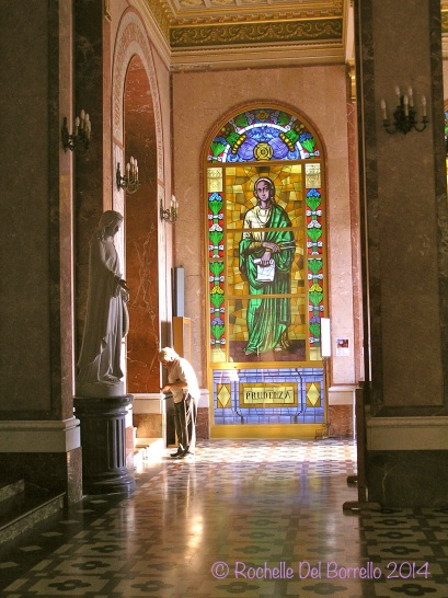 Interior stainglass windows at the Tindari church, Messina.