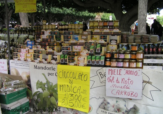 Typical products on sale at markets Piazzale Marconi, Noto Syracuse